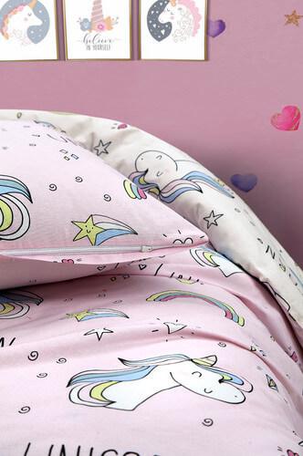 kinder-bettwaesche-135x200-cm-2-teilig-set-pink100-baumwolle-unicorn-einhorn~2