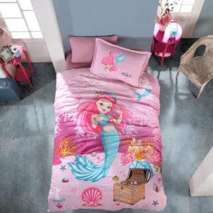kinder-bettwaesche-135x200-cm-pink-3-teilig-set-100-baumwolle-mit-reissverschluss-seemaedchen